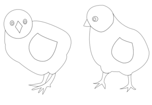 Chicks Vector Coloring Clip Art