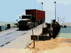 A U.s. Army Transport Vehicle Returns From The U.s. Navy Elevated Causeway System-modular Clip Art