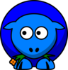Sheep Blue Two Toned Looking To The Left Clip Art