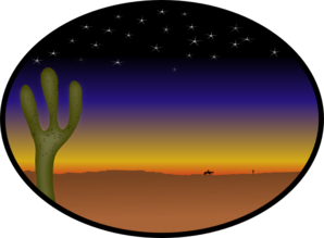Cowboy Sunset Clip Art
