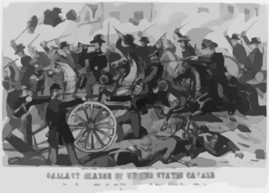 Gallant Charge Of United States Cavalry. Gallant Charge Of Lieutenant Tompkins Of The Second Cavalry, At Fairfax Court House, Va., On The Morning Of June 1, 1861 Clip Art