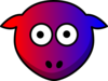 Sheep Red Purple Blue Toned Looking Straight Clip Art