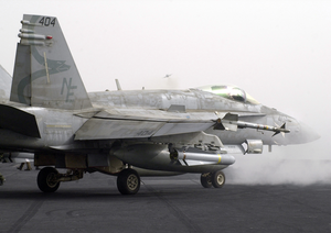 An F/a-18c Hornet Strike Fighter Aircraft Moves Into Position To Launch From  One Of Four Steam Powered Catapults Aboard Uss Constellation (cv 64) In Support Of Operation Iraqi Freedom Image