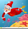 Scuba Diving Christmas Card Clipart Image