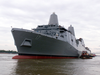 The Amphibious Transport Dock Ship Pre-commissioning Unit San Antonio (lpd 17) Floats Along The Mississippi River At Northrop Grumman Ship Systems Avondale Operations In New Orleans Image