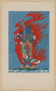[mythological Blue Buddhist Or Hindu Figure, Full-length, Standing On Small Island Among Waves, Facing Right, Against Backdrop Of Flames With Phoenix Head] Image
