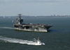 Uss George Washington (cvn 73), Sails Out Of The Chesapeake Bay As It Prepares For Composite Training Unit Exercise (comptuex) In The Atlantic Ocean Image