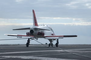 A T-45c Goshawk Assigned To The  Eagles  Of Training Squadron Seven (vt-7) Makes An Arrested Landing On The Flight Deck Aboard Uss Harry S. Truman (cvn 75). Image