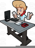 Desk With Computer Clipart Image