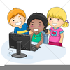 Children Using Computers Clipart Image