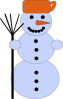 Snowman With Broom Clip Art