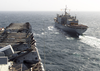 Uss Iwo Jima (lhd 7) Pulls Alongside The Military Sealift Command (msc) Combat Stores Ship Usns Concord (t-afs 5) Image