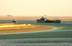 The Royal Fleet Auxiliary, Landing Ship Logistic Rfa Sir Galahad (l 3005) Arrives In The Iraqi Port City Of Umm Qasr Delivering The First Shipment Of Humanitarian Aid From Coalition Forces. Image