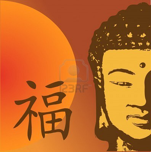 Vector Illustration With Buddha And Chinese Symbol For Luck Image