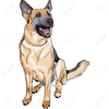 German Shepherd Christmas Clipart Image