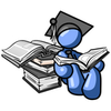 Clip Art Graphic Of A Blue Guy Character In A Graduation Cap Reading A Book By Jester Arts Image
