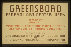 Greensboro Federal Art Center Week Open House June 7-14 : Visit Your Community Art Center, Jefferson Standard Building. Image