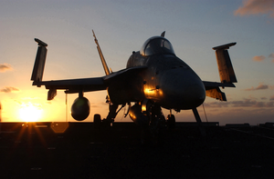 An F/a-18 Of Strike Fighter Squadron One Nine Two (vfa-192) Stands Secured And Tied Down Image