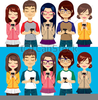 People Cell Phones Clipart Image
