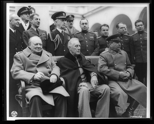 Crimean Conference--prime Minister Winston Churchill, President Franklin D. Roosevelt, And Marshal Joseph Stalin At The Palace In Yalta, Where The Big Three Met  / /u.s. Signal Corps Photo. Image
