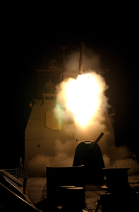 The Guided Missile Cruiser Uss Shiloh (cg 67) Fires A Tomahawk Land Attack Missile (tlam). Image
