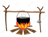 Pot Over Fire Clipart Image