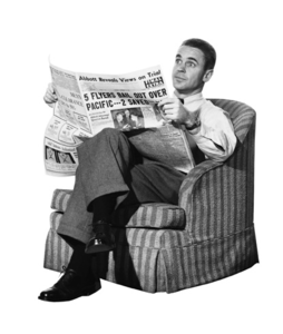 Reading The Newspaper Image