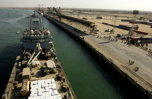 The Royal Fleet Auxiliary, Landing Ship Logistic Rfa Sir Galahad (l 3005) Arrives In The Iraqi Port City Of Umm Qsar Image