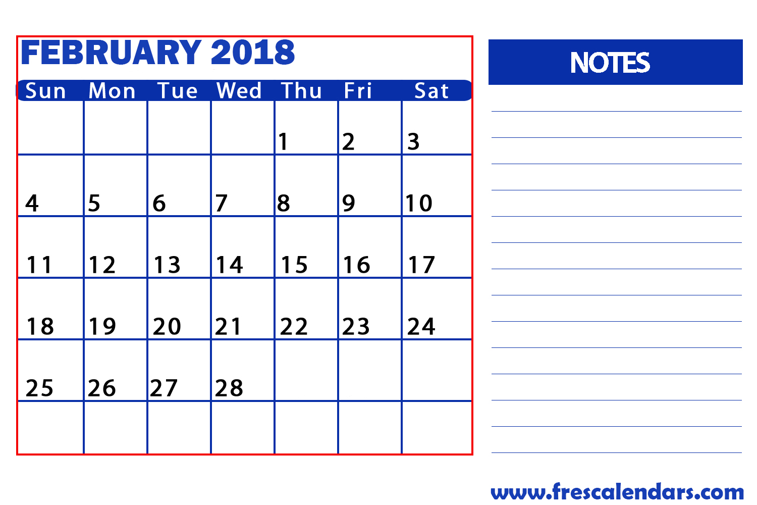 February Calendar With Notes Space Free Images At Clker