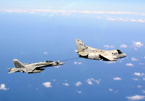 An S-3b Viking Assigned To The  Checkmates  Of Sea Control Squadron Two Two (vs-22) Refuels An F/a-18 Hornet Assigned To The Image