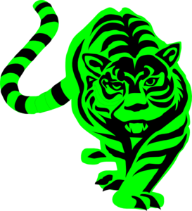 Green Striped Tiger Clip Art
