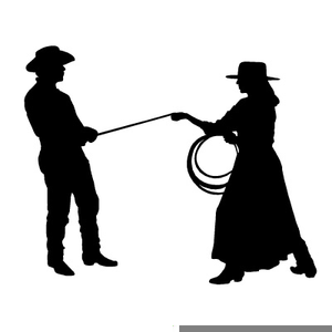 Cowboy Cowgirl Dancing Clipart Image