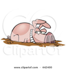 Pig With Apple In Its Mouth Clipart Image