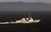 The Arleigh Burke Class Guided Missile Destroyer Uss Bulkeley (ddg 84) Joins Uss George Washington (cvn 73) And Carrier Air Wing Seven (cvw-7) As They Transit The Straits Of Gibraltar. Image