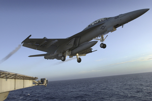 An F/a-18f Super Hornet Assigned To The Diamondbacks Of Strike Fighter Squadron One Zero Two (vfa-102) Launches From The Flight Deck Of Uss John C. Stennis (cvn 74) Image