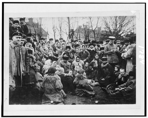 [crowd Of Refugees(?)--, Possibly Jewish, And Three Officials Outdoors, Russia] Image