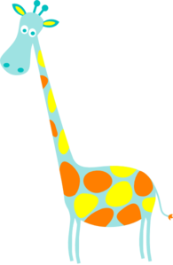 Giraffe Lt Teal With Yellow And Orange Spots Clip Art