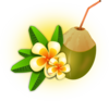 Tropical Flower With Coconut Drink Clip Art