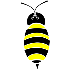 Bee/white Outline Clip Art