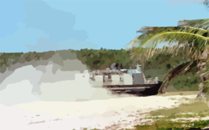 A Landing Craft Air Cushion (lcac) Hits The Beach At Vieques Island Clip Art