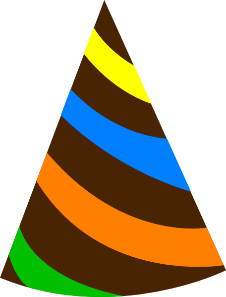 Rainbow Party Hat Brown Clip Art