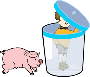 Boy In A Bin With Pig Clip Art