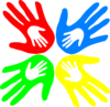 Four Colored Hands 45 Degree Clip Art