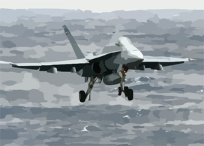 An F/a-18c Hornet Assigned To The  Valions  Of Strike Fighter Squadron One Five (vfa-15) Makes Its Final Approach Before Landing. Clip Art