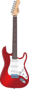 Red And White Guitar  Clip Art