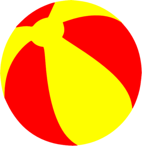 Strandball Beachball Ball Bright Red And Yellow Clip Art