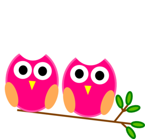 Pink Owls On Branch Clip Art
