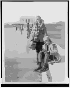 [abbey Jackson, Seated, And Celene Dupuy Ice Skating On Reflecting Pool, With Lincoln Memorial In Background] Clip Art
