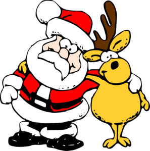 Santa And Reindeer Clip Art