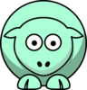 Sheep Looking Straight Pastel Green Clip Art